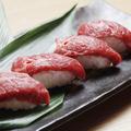 料理メニュー写真馬肉握り 馬刺しの食べ比べ2種盛り(2種3貫 計6貫)