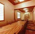 各10名様までご利用になれるお座敷個室です。 真ん中の襖をはずせば20名様までのご宴会が可能です