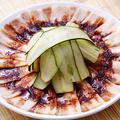 料理メニュー写真くらげの頭ときゅうりの和え物/ホッキ貝の冷菜/豚肉の辛子ニンニクソース掛け