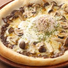料理メニュー写真トリュフと茸の温玉ビスマルクPIZZA