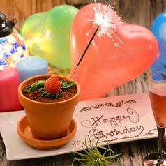 料理メニュー写真☆誕生日におすすめ☆見て楽しい食べて美味しい!メッセージ入りフラワーポットが無料!サプライズに◎