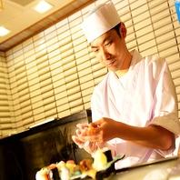 職人の仕事ぶりを楽しみながら、お寿司を思う存分!