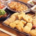 【新世界セット】串カツ10種・ホルモン焼3種・どて焼・キムチ