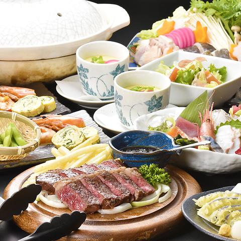 生ビール込120分飲放付!刺身盛合&天ぷら&選べる鍋 全8品コース4500円