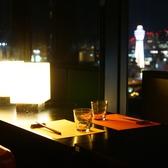 夜景を独占できるテーブル席