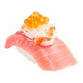 料理メニュー写真三段つかみ寿司 トロと北海道てっぺんネタ