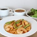 料理メニュー写真エビのトマトクリームソーススパゲッティー