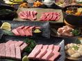 【極上 若勝コース 5000円】小倉牛を中心に若勝の厳選された九州産黒毛和牛を心ゆくまで堪能できるコース。贅を極めたこのコースで本当の肉の旨さをお愉しみください。飲み放題は+1500円。