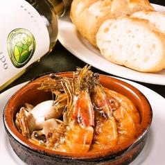 料理メニュー写真有頭エビの丸ごとアヒージョ/生ハムとマッシュルームいっぱいアヒージョ