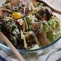 料理メニュー写真生ハムとごぼうチップのシーザーサラダ
