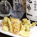 料理メニュー写真山菜とホタルイカの天ぷら