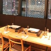 テーブル席個室。名古屋駅を眺めながらお食事できる贅沢なお席。