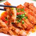 料理メニュー写真四川風鶏肉のピリ辛炒め、油淋鶏(ユーリンチー)