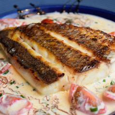 白身魚のムニエルと旬の焼き野菜~貝のクリームソースで~