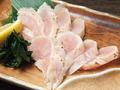 料理メニュー写真国産鶏ササミ刺 炙り柚子胡椒 / 鶏皮の唐揚げ