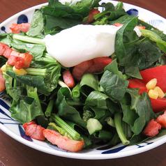 ベーコンとほうれん草のポーチドエッグサラダ