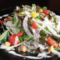 料理メニュー写真温玉とベーコンのシーザーサラダ