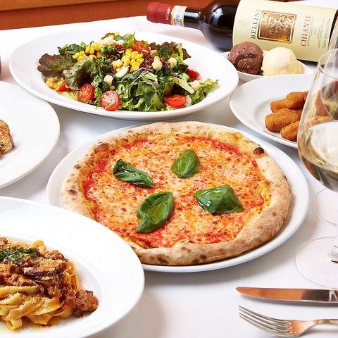 モチモチの生地に糸引くチーズが堪らなく美味しい本格ピッツァをご堪能頂けます!