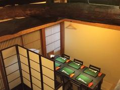 京都祇園の路地裏の一軒家、町家を改装した隠れ家。「梁(はり)」の張り出し具合がポイントです。6名席が2テーブル。4名席が1テーブルあります。つなげて使えば18名さままでの完全個室になります。座敷仕様でも出来ます。