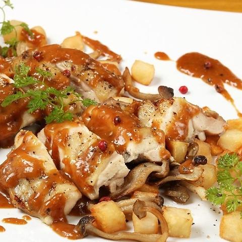 【満足☆国産鶏のグリエコース】全8品3時間飲み放題付¥3,980 宴会,女子会に