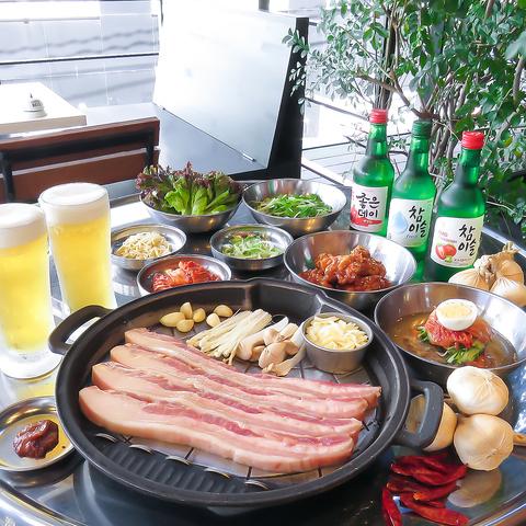おススメ♪【韓国焼肉×生ビール】韓国焼肉ビアガーデンコース→テラス席+飲放付税込3500円!