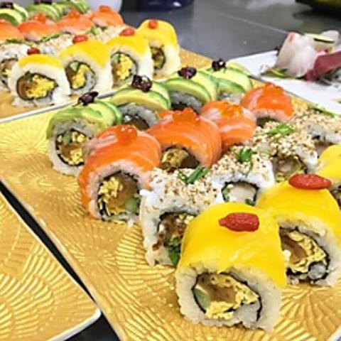 【個別皿でコロナ対策◎】旬の鮮魚お造りや西京焼き含む、ロール寿司コース(デザート付)