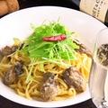 料理メニュー写真牡蠣と水菜のアーリオ・オーリオ