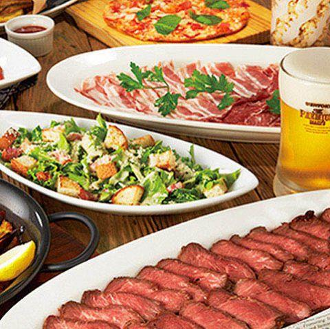 【素敵なステーキプラン☆】四元豚の厚切りステーキ等〈イタリアン8品〉+120分飲み放題★