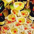 【豪華!!シャンパンタワー!!】ダーツバーならではの豪華シャンパンタワーで派手にパーティーできます!!主役も迫力のシャンパンタワーに感激間違いなし!!
