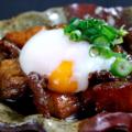 料理メニュー写真近江牛筋と半熟卵と愛東玉蒟蒻の土手煮込み