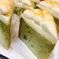 『和』(わ)黒豆を入れた抹茶のバターケーキに、きな粉風味の生クリームを使用。和をイメージしたバターケーキです!