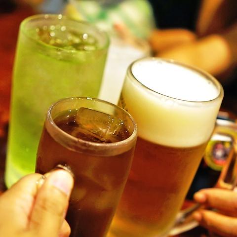 当日OK!生ビールOK♪お得な単品飲み放題120分1800円(込)!