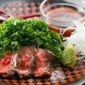 料理メニュー写真福島牛のステーキ たっぷり葱のせ 和風ソースで