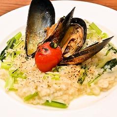 料理メニュー写真自然栽培白米とオーガニックムール貝、季節の野菜のリゾット