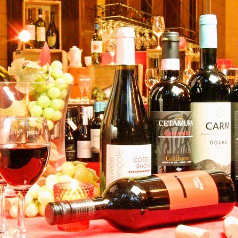 料理によく合うお勧めのワインが豊富♪バーカウンター有。仕事帰りや買い物帰りにふらりと立ち寄れるお店です◎