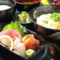 【ランチ・お造り定食780円】⇒≪魚3種・温うどん・ミニやっこ・ご飯・みそ汁・つけもの≫