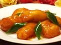 料理メニュー写真白身魚の甘酢かけ/イカの辛味噌炒め