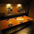 ゆったりくつろげるテーブル半個室。プライベート感があり、ご宴会にも最適。落ち着いた雰囲気でしっぽり飲みたい方におすすめです。当店自慢の鮮魚をこだわりの日本酒や焼酎を、ごゆっくりご堪能ください。
