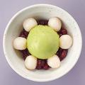 料理メニュー写真白玉クリームぜんざい 〈バニラ または 抹茶〉