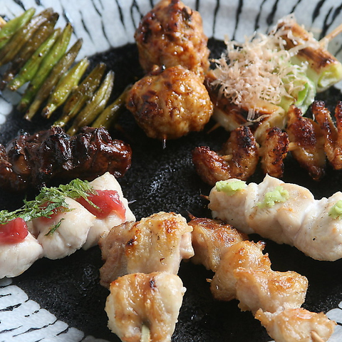 新鮮!串焼き4種含む【串焼きコース】90分飲み放題付き!