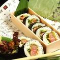 お土産用特製ヒレカツ巻き:黒毛和牛とお寿司のうれしい出会い!!わさびの新名物です。
