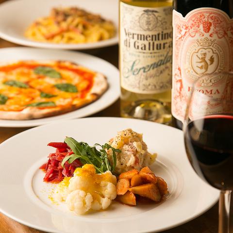 店主厳選の旬な食材を使った野菜料理。イタリアンワインと共にお楽しみください。