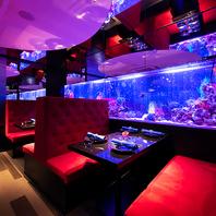 まさに「深海」で食事を楽しんでいるような「非日常」。
