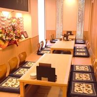 各種宴会・接待・会食などに最適な個室席をご用意!!