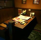 仕切りのある個室風テーブル席