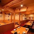 最大40名様までご利用可能なテーブル席を仕切ることで、4名様や6名様などのさまざまな半個室としてご利用いただけます。ご利用人数に合わせて対応いたしますので、お気軽にご相談ください!【神田駅 神田個室居酒屋 飲み放題 貸切OK 新年会 忘年会】