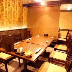 半個室風のテーブル席はゆったり落ちつける空間です。最大14名様までOK!!