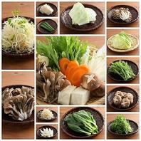 常時20種の新鮮野菜と鍋具材のビュッフェ