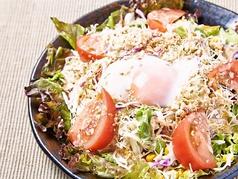 鶏そぼろと温玉の焙煎胡麻サラダ