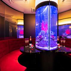 【 カップルシート 半個室シート(2名専用)】中央に大きく構える水槽を囲むように壁一面ミラーが際立つ独特な空間。「アクアリウムの輝く幻想的な水槽をお二人だけのものに」記念日や誕生日など、特別な日により特別な時間を提供できるカップルシートは半個室仕様。他の座席と隔離したプライベートな空間を演出。